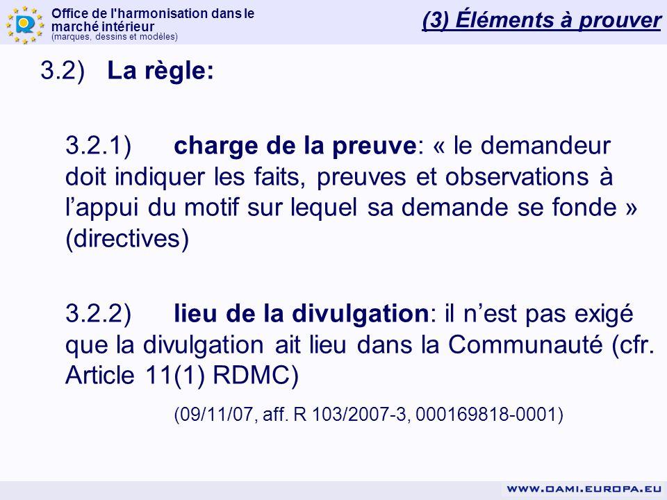 (3) Éléments à prouver 3.2) La règle: