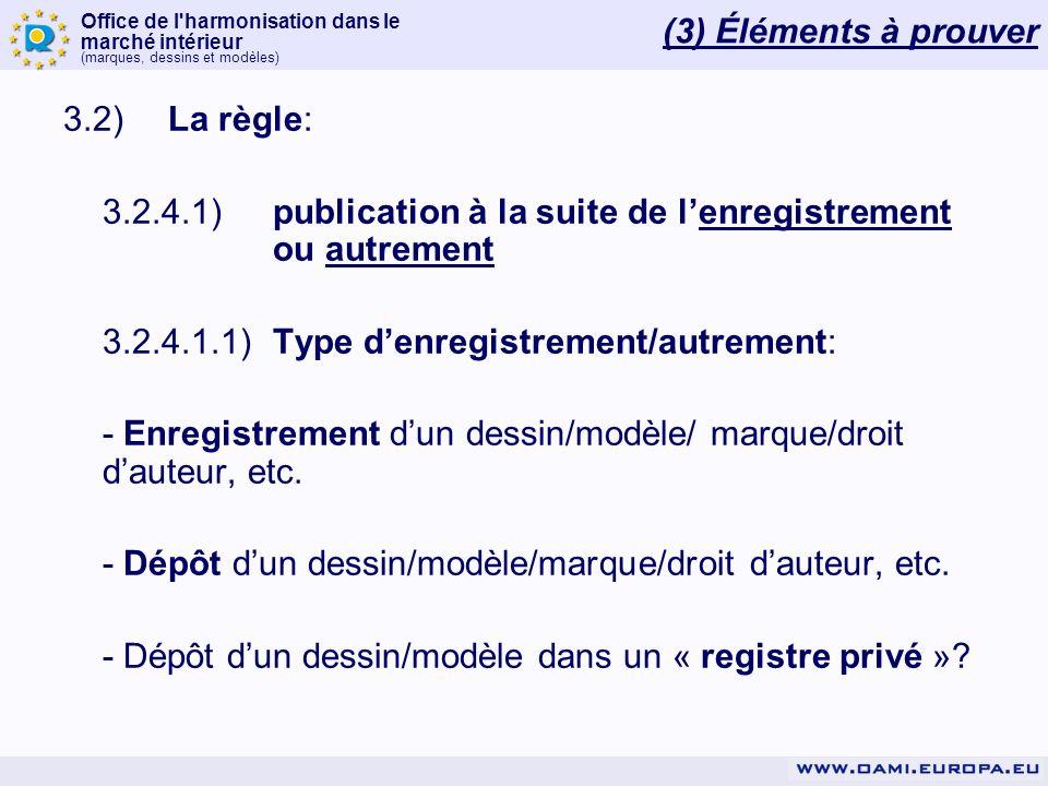 (3) Éléments à prouver 3.2) La règle: 3.2.4.1) publication à la suite de l'enregistrement ou autrement.