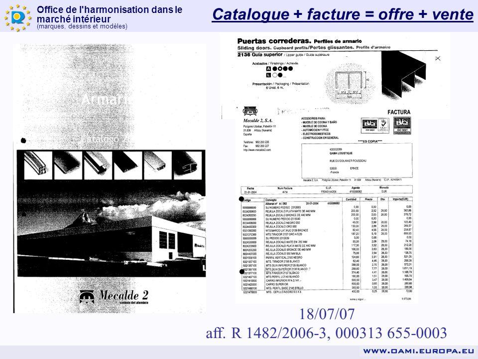Catalogue + facture = offre + vente