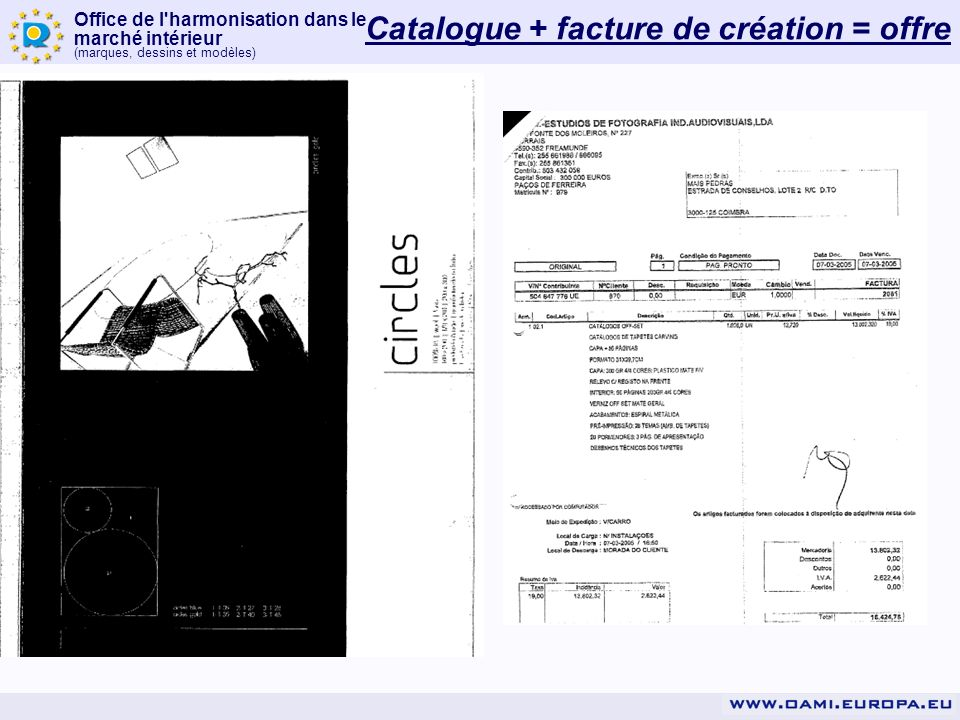 Catalogue + facture de création = offre