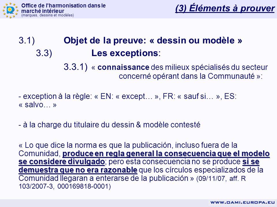 3.1) Objet de la preuve: « dessin ou modèle »