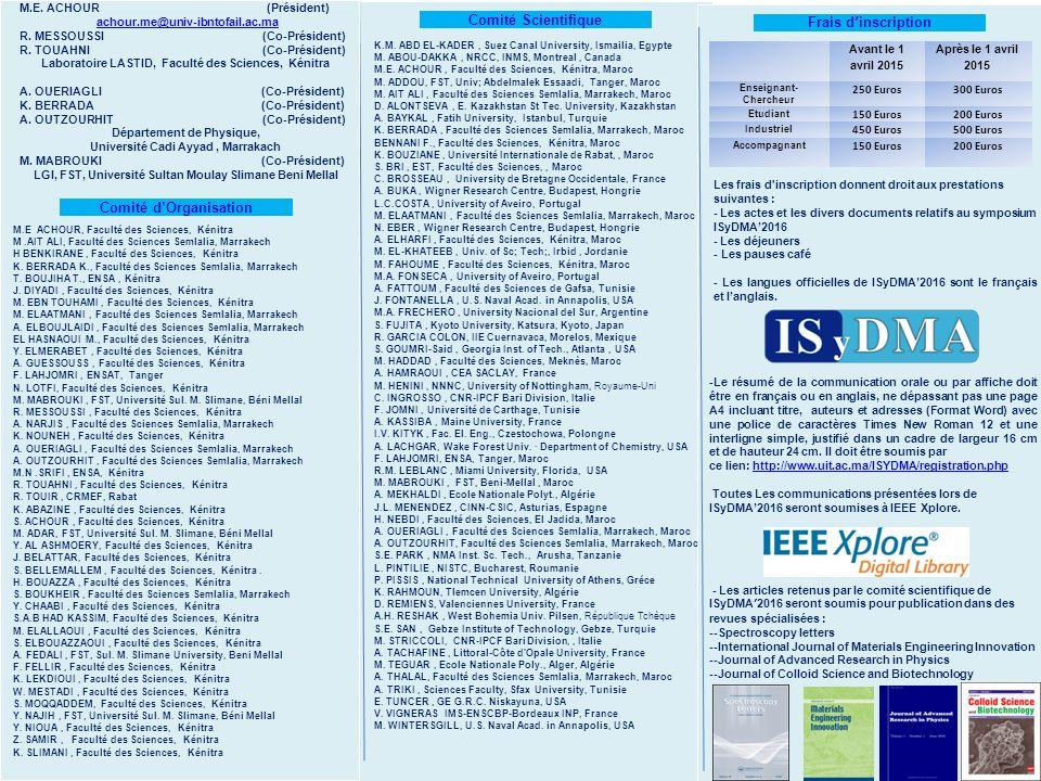 Comité Scientifique Frais d'inscription Comité d'Organisation