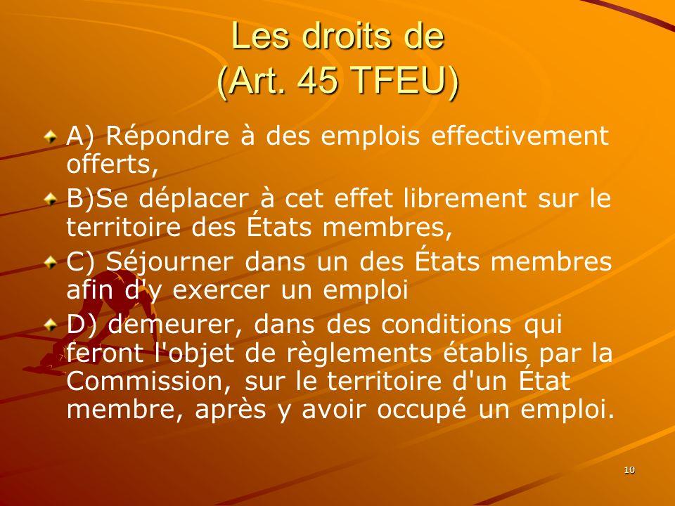Les droits de (Art. 45 TFEU)