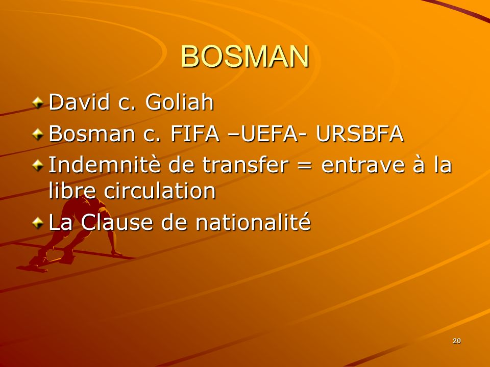 BOSMAN David c. Goliah Bosman c. FIFA –UEFA- URSBFA