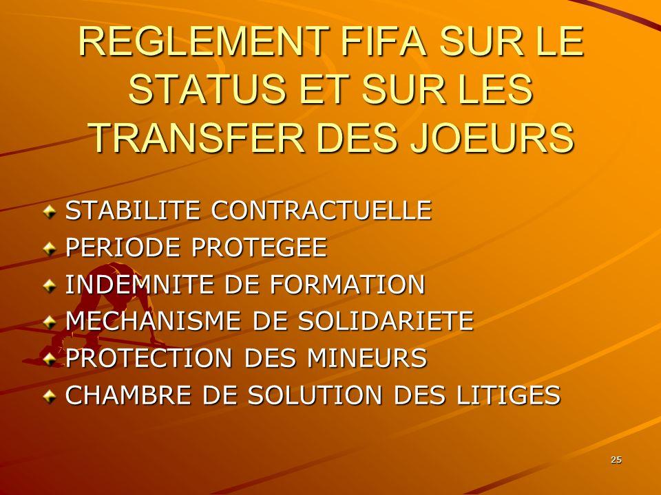 REGLEMENT FIFA SUR LE STATUS ET SUR LES TRANSFER DES JOEURS