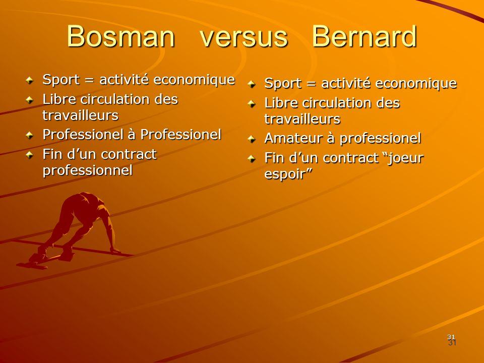 Bosman versus Bernard Sport = activité economique