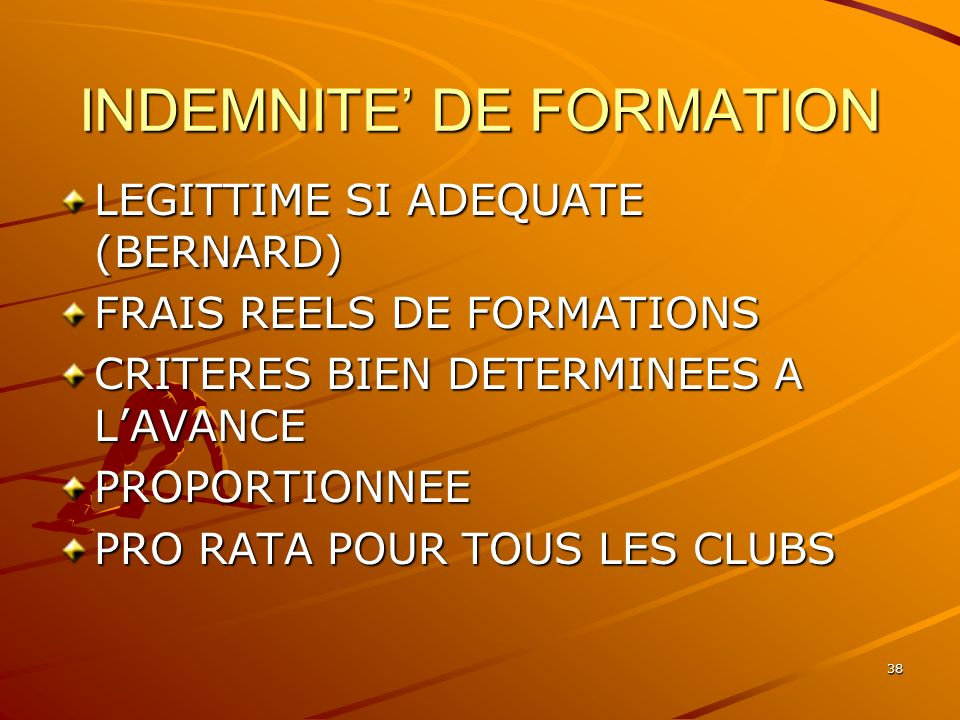 INDEMNITE' DE FORMATION
