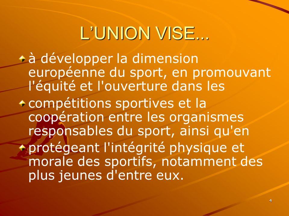 L'UNION VISE...à développer la dimension européenne du sport, en promouvant l équité et l ouverture dans les.