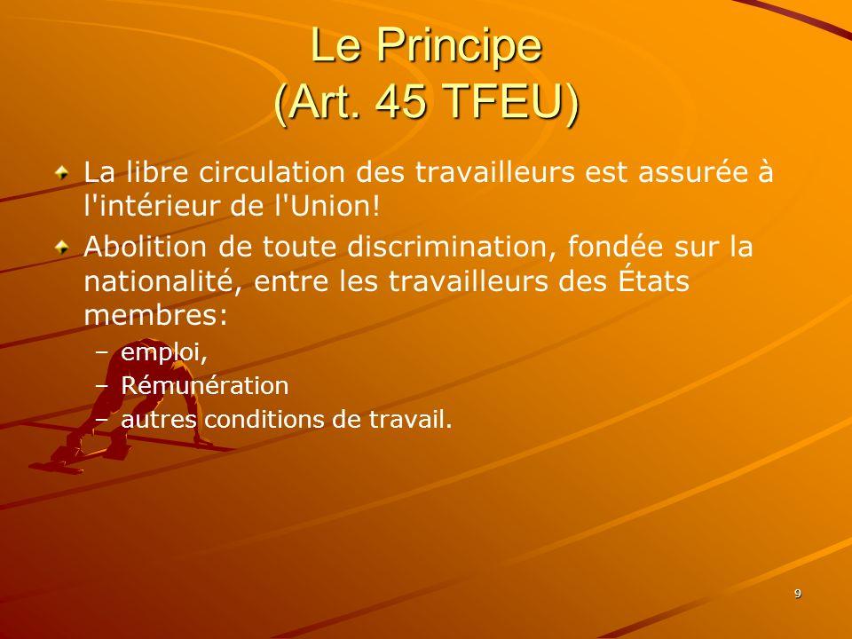 Le Principe (Art. 45 TFEU) La libre circulation des travailleurs est assurée à l intérieur de l Union!