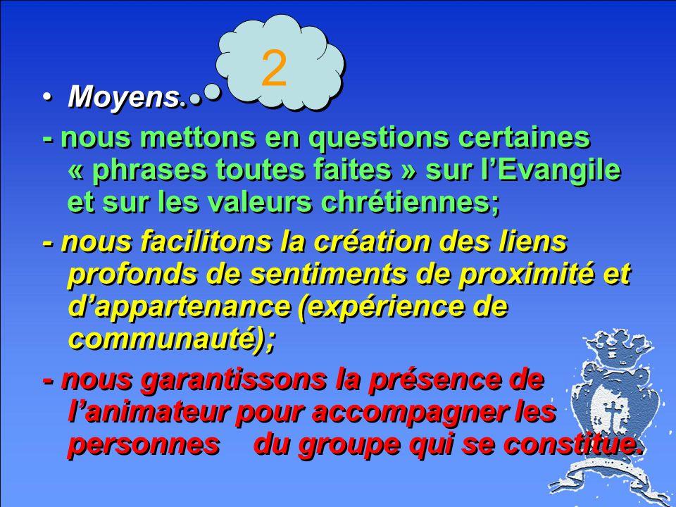 2 Moyens. - nous mettons en questions certaines « phrases toutes faites » sur l'Evangile et sur les valeurs chrétiennes;