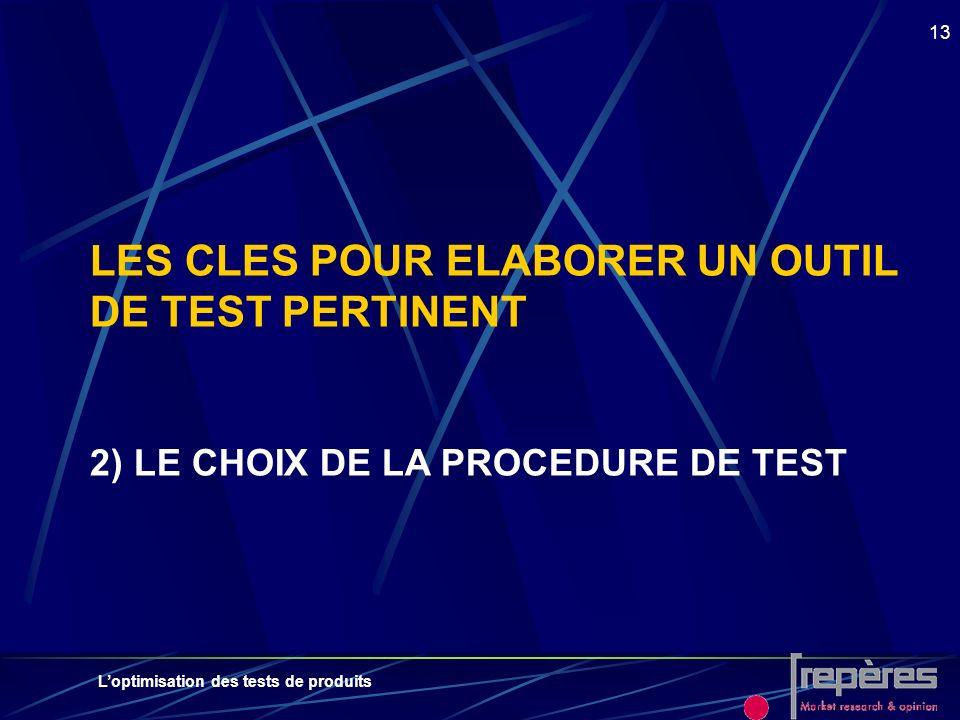 LES CLES POUR ELABORER UN OUTIL DE TEST PERTINENT 2) LE CHOIX DE LA PROCEDURE DE TEST