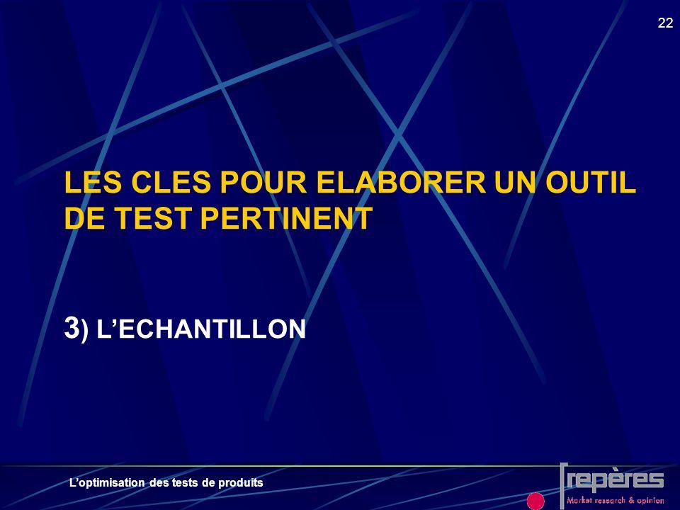 LES CLES POUR ELABORER UN OUTIL DE TEST PERTINENT 3) L'ECHANTILLON