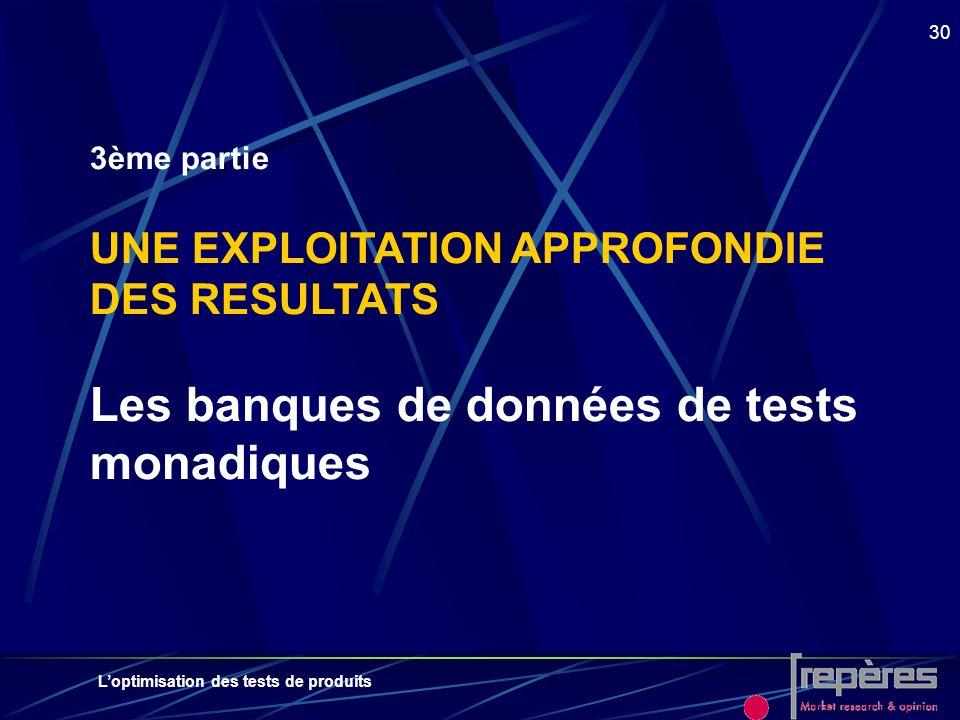 3ème partie UNE EXPLOITATION APPROFONDIE DES RESULTATS Les banques de données de tests monadiques
