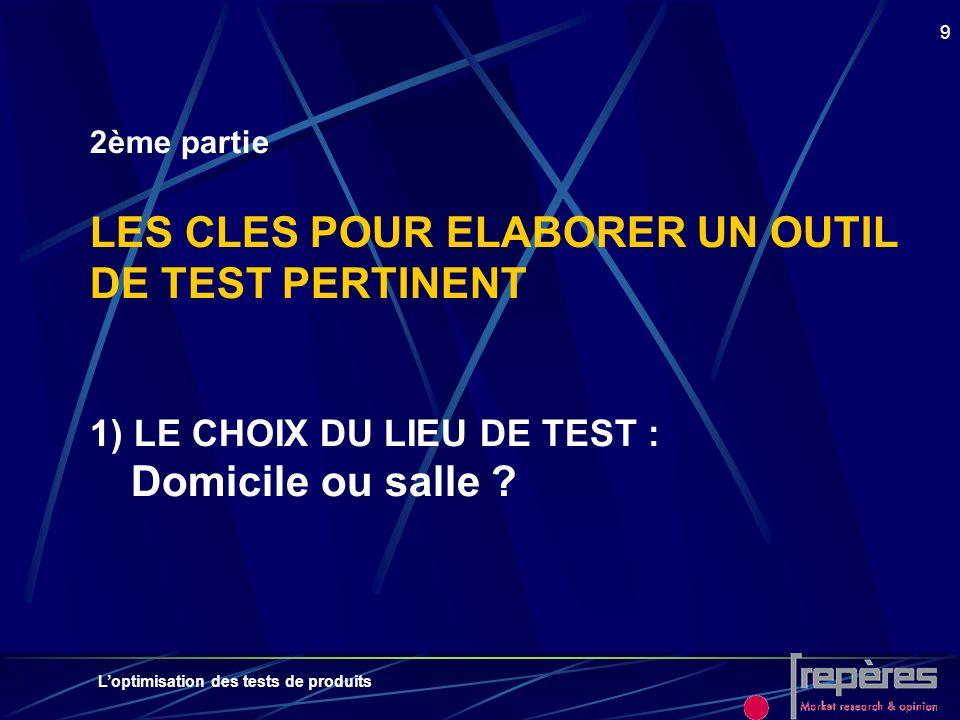 2ème partie LES CLES POUR ELABORER UN OUTIL DE TEST PERTINENT 1) LE CHOIX DU LIEU DE TEST : Domicile ou salle