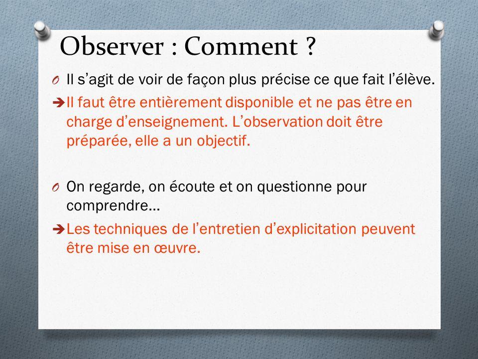 Observer : Comment Il s'agit de voir de façon plus précise ce que fait l'élève.