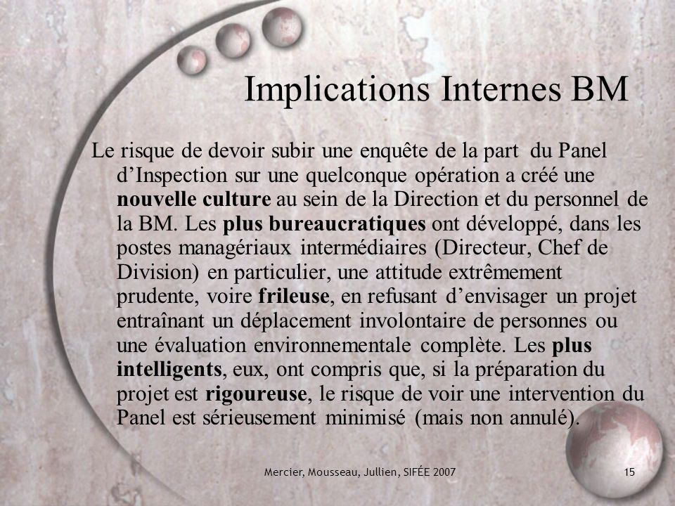 Implications Internes BM