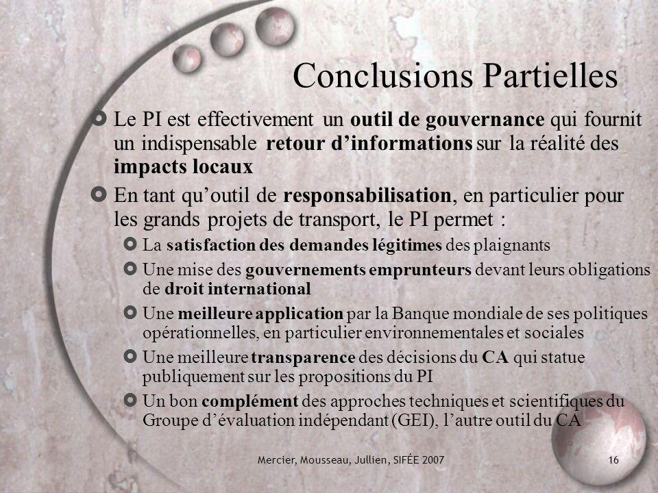 Conclusions Partielles