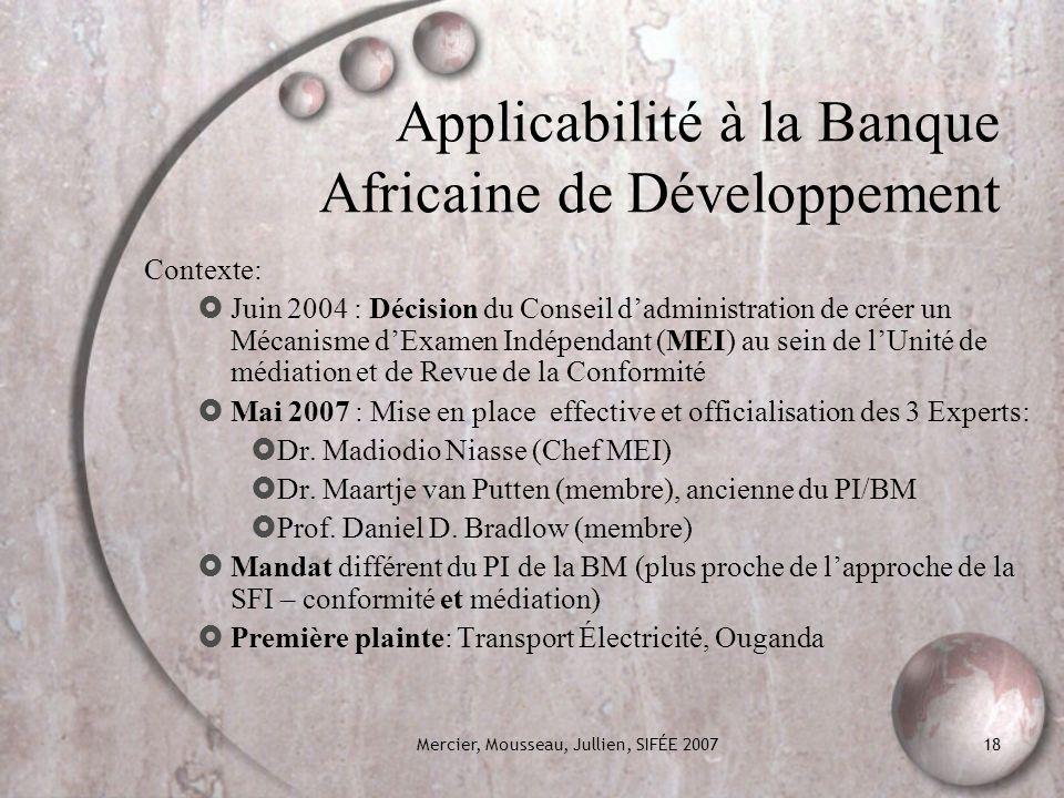 Applicabilité à la Banque Africaine de Développement