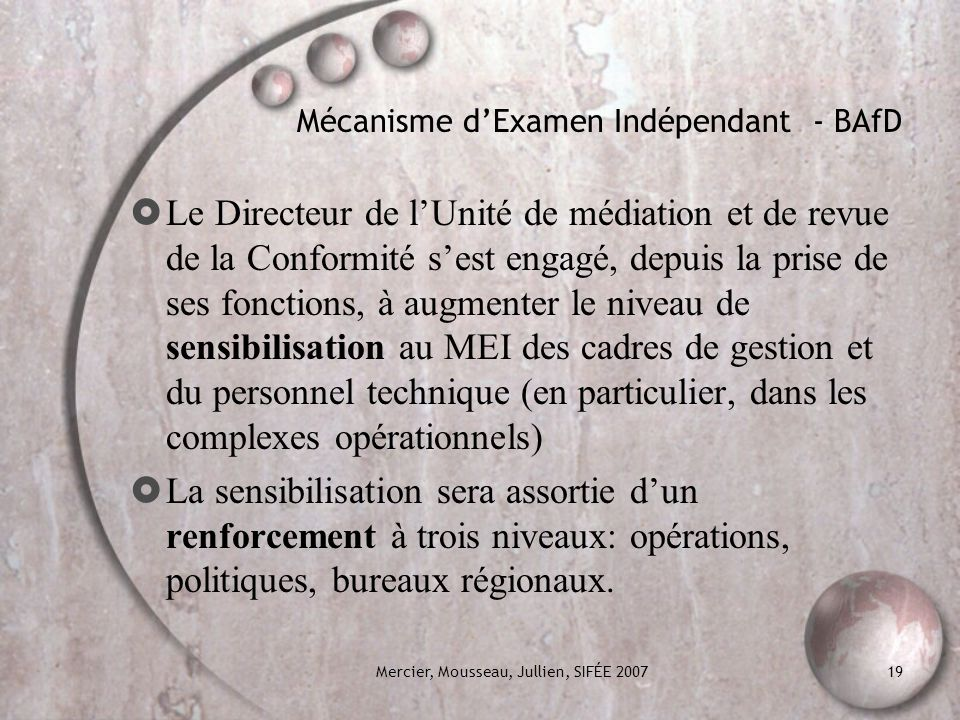 Mécanisme d'Examen Indépendant - BAfD