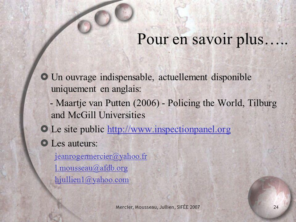 Mercier, Mousseau, Jullien, SIFÉE 2007