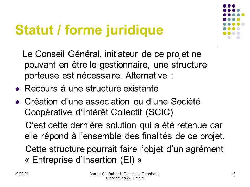 Statut / forme juridique
