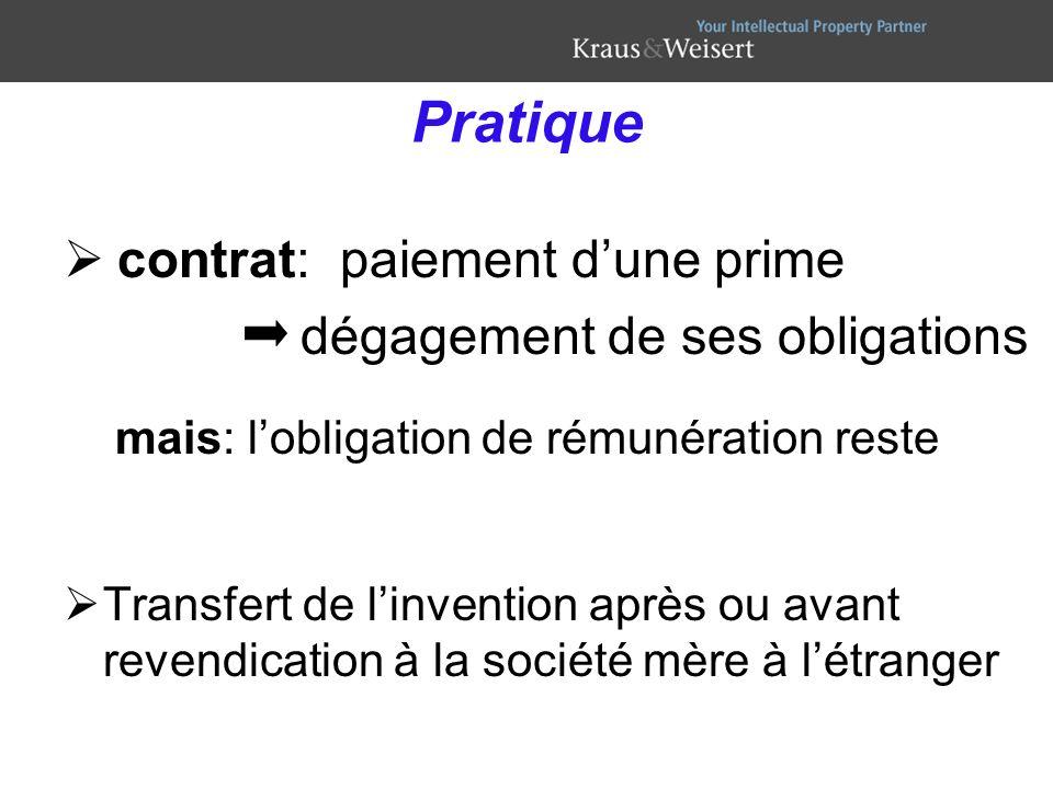 Pratique contrat: paiement d'une prime dégagement de ses obligations