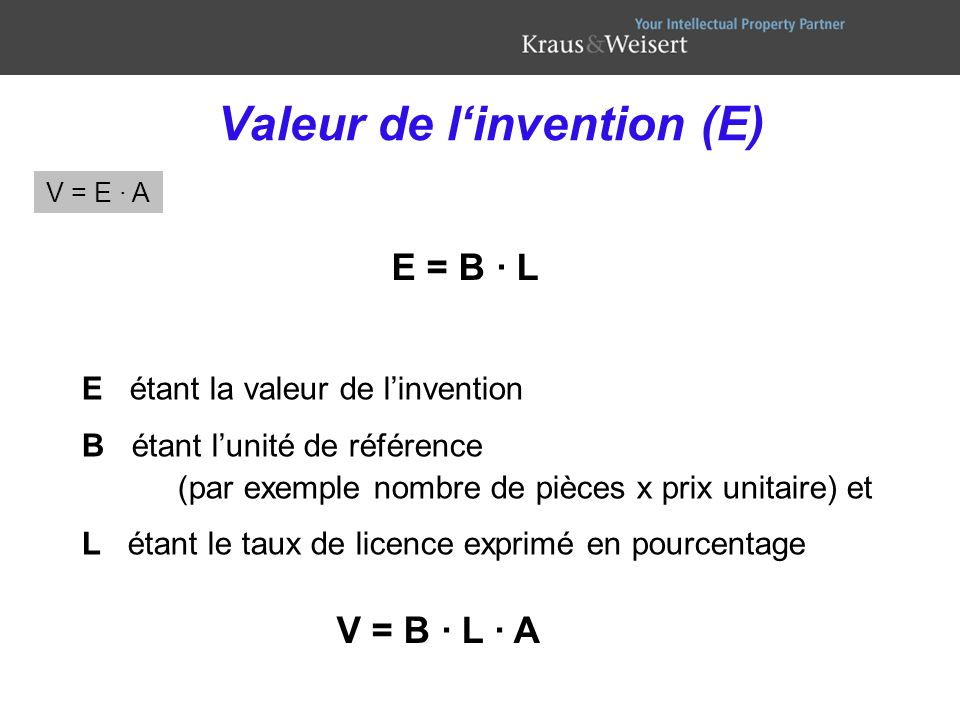 Valeur de l'invention (E)