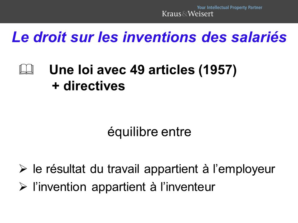 Le droit sur les inventions des salariés