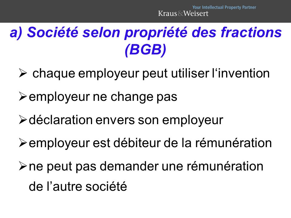 a) Société selon propriété des fractions (BGB)