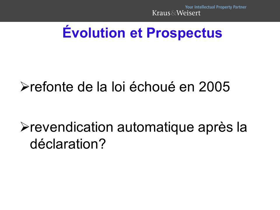Évolution et Prospectus