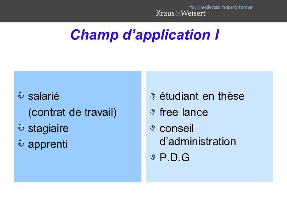 Champ d'application I salarié (contrat de travail) stagiaire apprenti