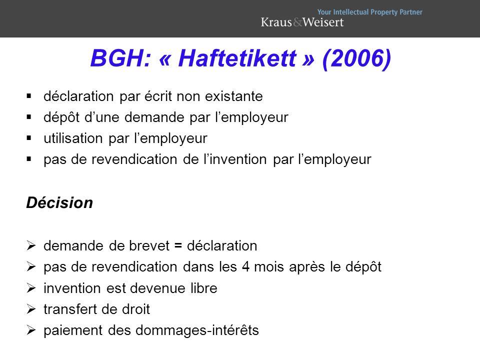 BGH: « Haftetikett » (2006) Décision