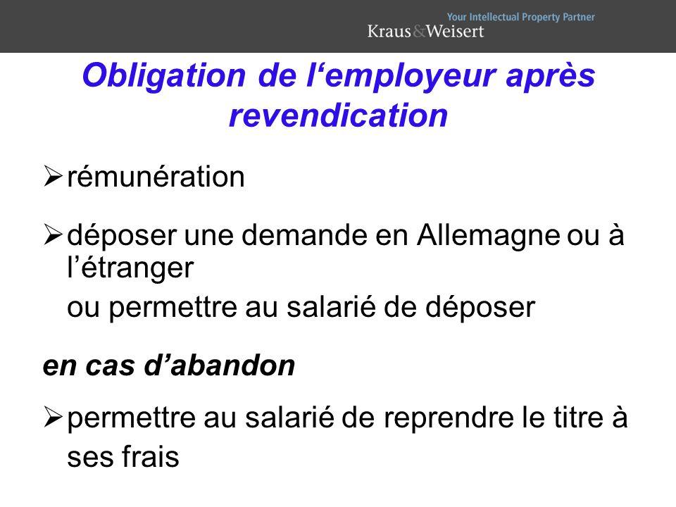 Obligation de l'employeur après revendication