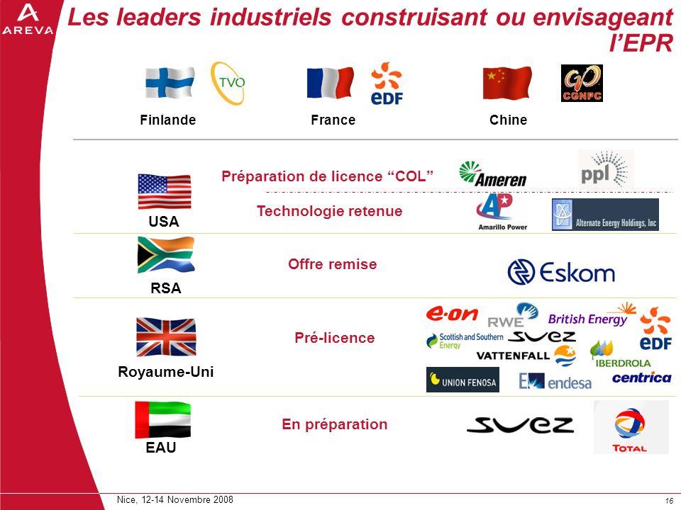 Les leaders industriels construisant ou envisageant l'EPR