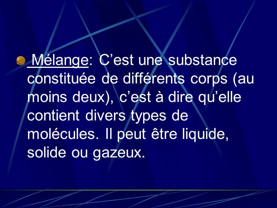 Mélange: C'est une substance constituée de différents corps (au moins deux), c'est à dire qu'elle contient divers types de molécules.