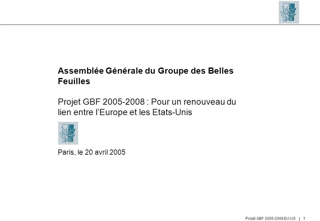 Assemblée Générale du Groupe des Belles Feuilles Projet GBF 2005-2008 : Pour un renouveau du lien entre l'Europe et les Etats-Unis Paris, le 20 avril 2005