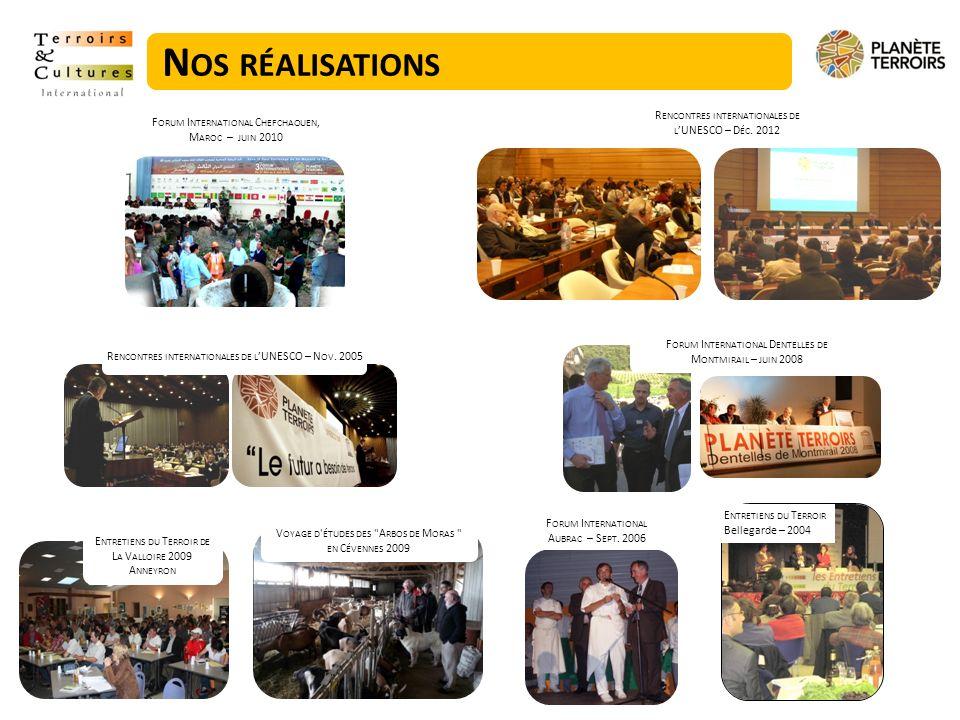 Nos réalisations Rencontres internationales de l'UNESCO – Déc. 2012