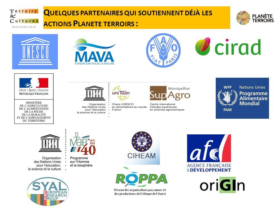 Quelques partenaires qui soutiennent déjà les actions Planete terroirs :