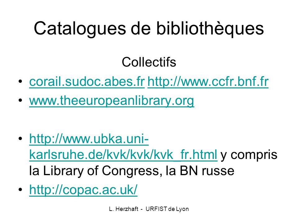 Catalogues de bibliothèques