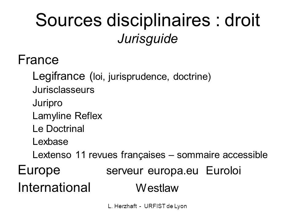 Sources disciplinaires : droit Jurisguide