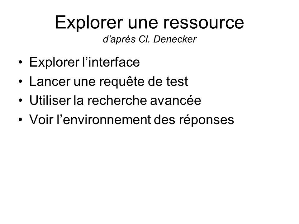 Explorer une ressource d'après Cl. Denecker