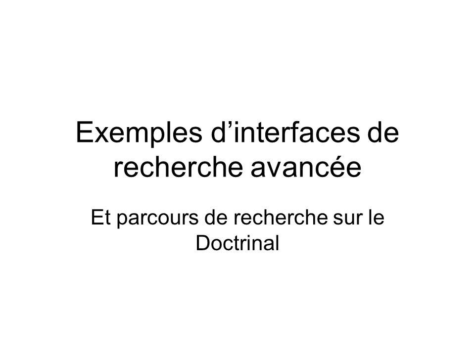 Exemples d'interfaces de recherche avancée