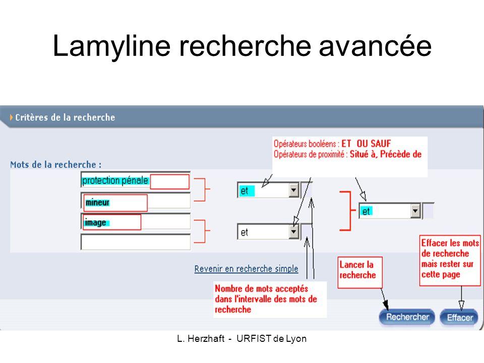 Lamyline recherche avancée