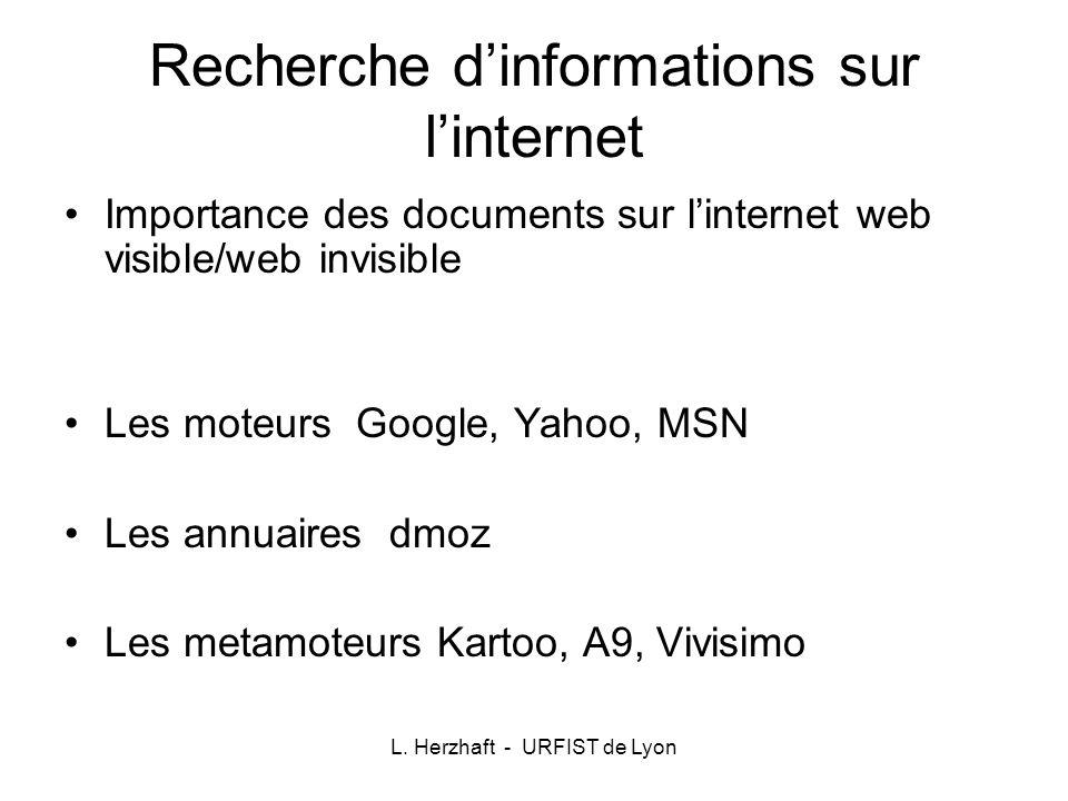 Recherche d'informations sur l'internet