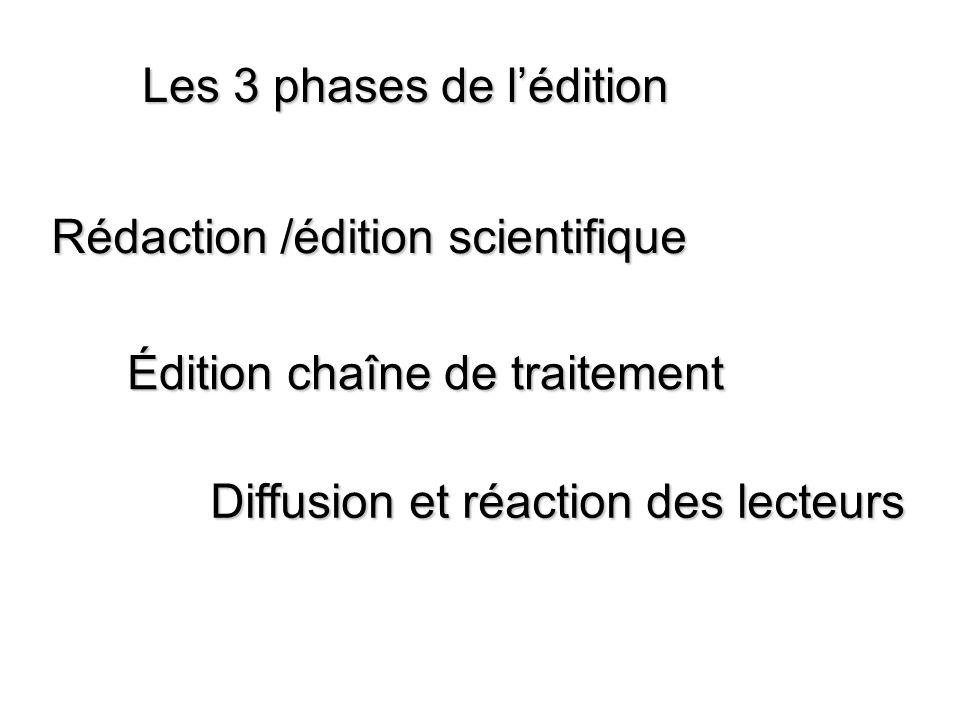 Les 3 phases de l'édition