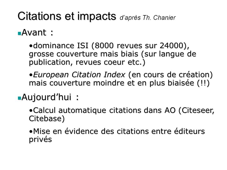 Citations et impacts d'après Th. Chanier