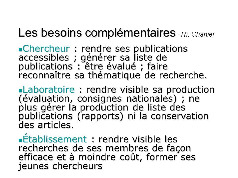 Les besoins complémentaires -Th. Chanier