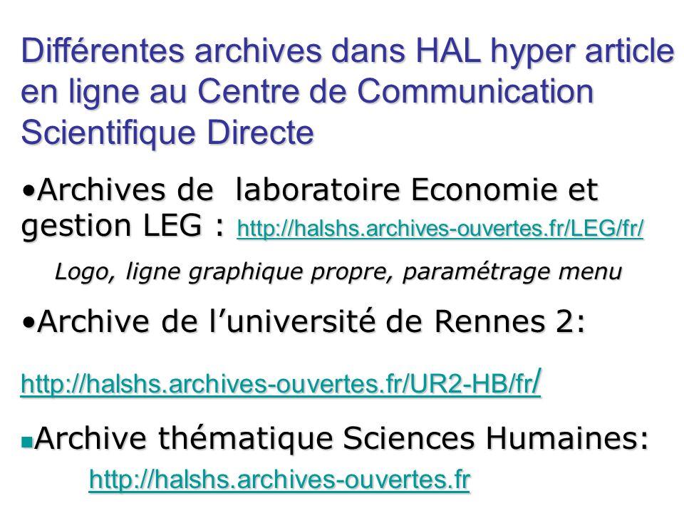 Différentes archives dans HAL hyper article en ligne au Centre de Communication Scientifique Directe