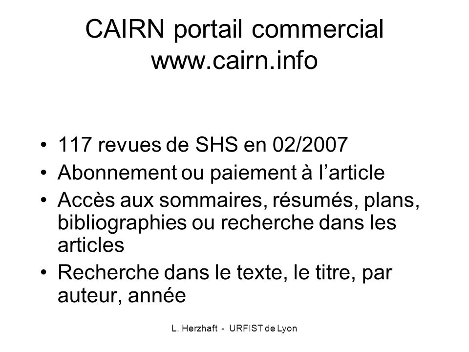 CAIRN portail commercial www.cairn.info