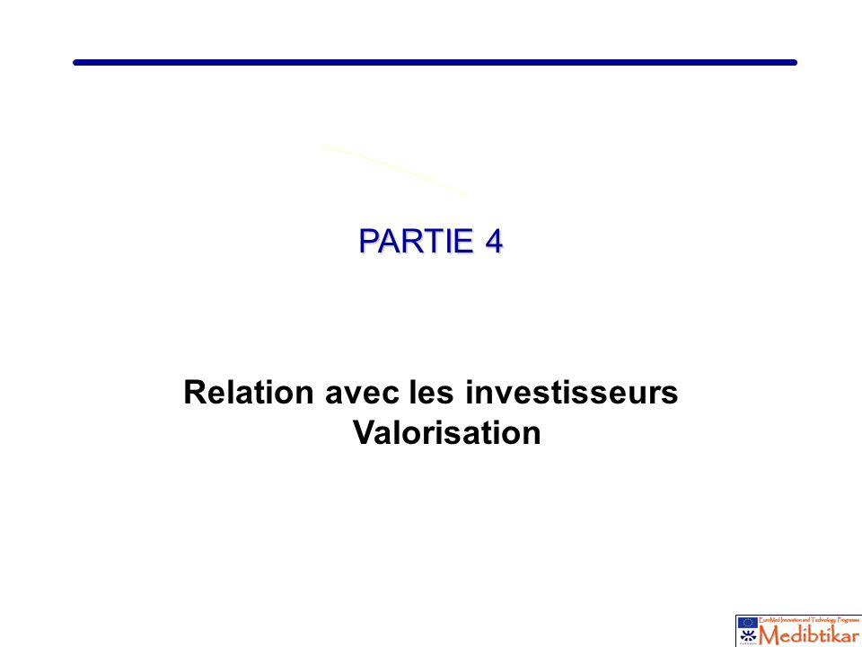 Relation avec les investisseurs Valorisation